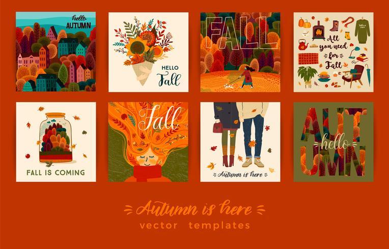 Conjunto de lindas tarjetas de otoño vector