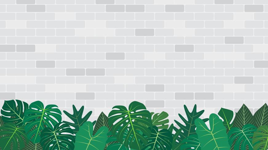 Decorazione tropicale delle foglie sul fondo bianco del muro di mattoni