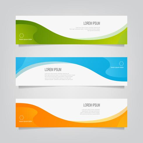 Set of Colorful Undulating Line Banners  vector