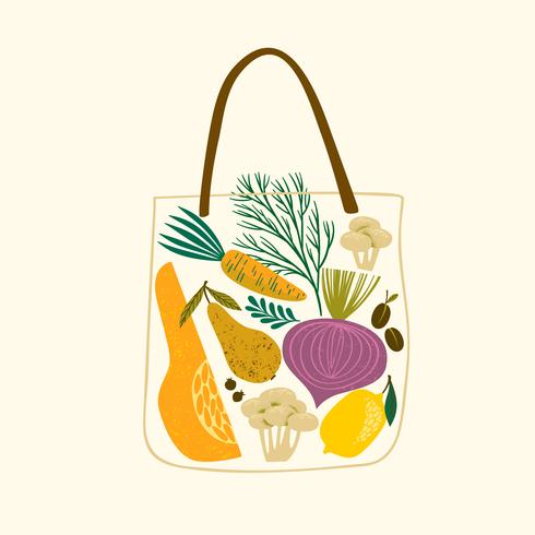 fruits and vegetables in a bag vector