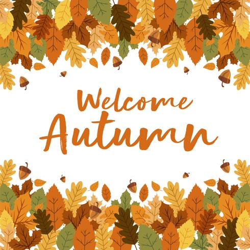 Welcome Autumn Floral Leaves Background With Nuts