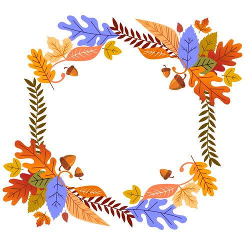 Autumn Leaves Frame Floral For Card or Poster