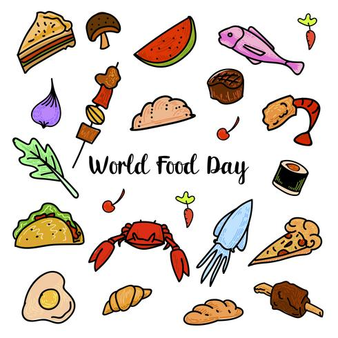 Día mundial de la alimentación con frutas coloridas vector