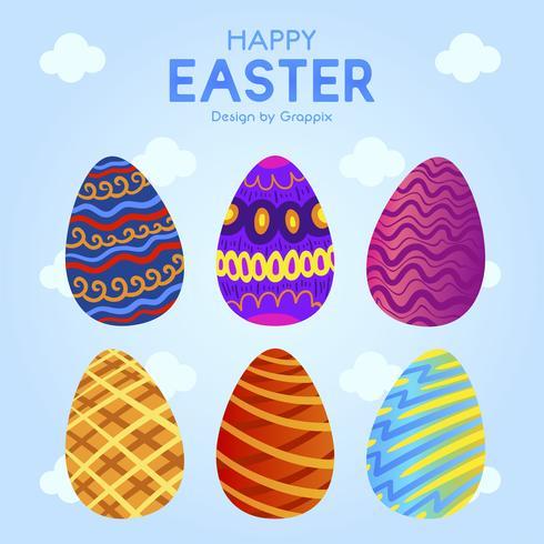 Seis ovos de Páscoa com ornamento colorido