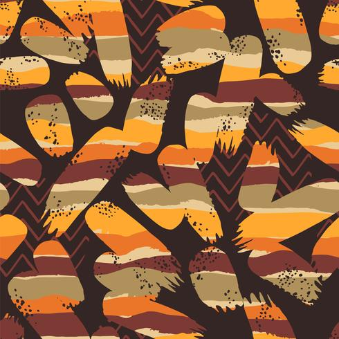 Tribal ethnic seamless pattern with geometric elements and brush strokes. vector