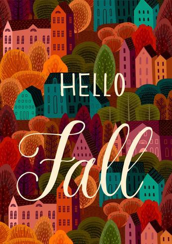 Hola otoño con ciudad de otoño vector