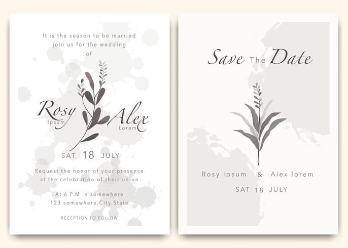 Les invitations de mariage sauvent la conception de carte de date avec l'anémone élégante de jardin.