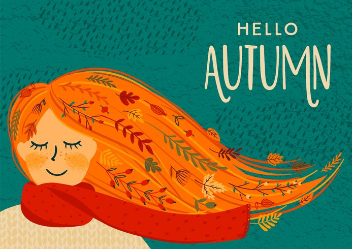 Hola otoño tarjeta vector