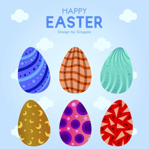 Seis huevos de Pascua con adornos coloridos vector