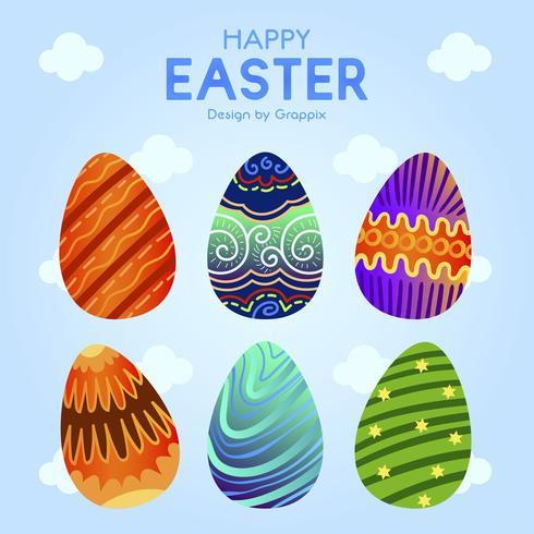 Seis huevos de Pascua con patrón de adorno colorido vector