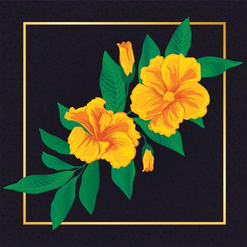 Hermosa Flor Floral Con Hoja Vintage Elementos Naturaleza vector