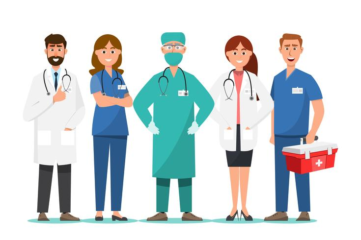 Equipo de personal médico en el hospital. vector