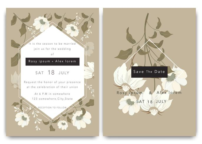 Las invitaciones de boda guardan el diseño de la tarjeta de fecha con una elegante anémona de jardín. vector