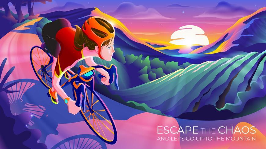 La mujer escapa del caos y sube la montaña en bicicleta vector