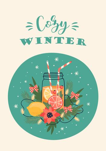 Winter in the City Card  vector