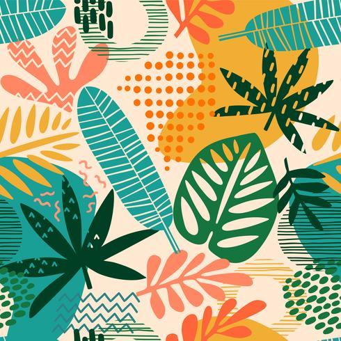 Abstrata sem costura padrão com folhas tropicais vetor