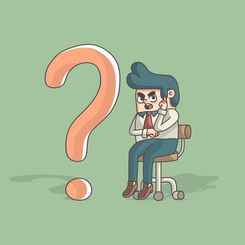 hombre de negocios de dibujos animados pensando mientras está sentado al lado del signo de interrogación