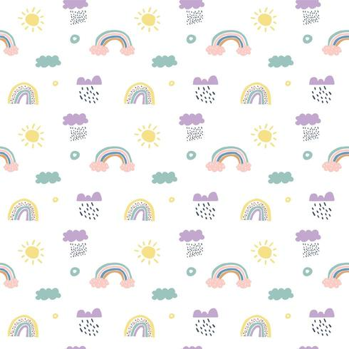 Skandinaviska sömlösa mönster för barnvektor, moln, regn, sol och regnbåge