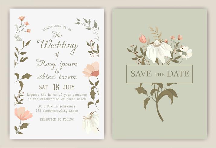 wedding invitation card with colourful floral and leaves. vector