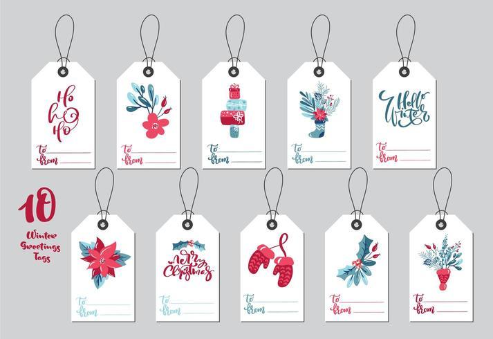 Etiquetas de presente de vetor de feliz Natal de coleção