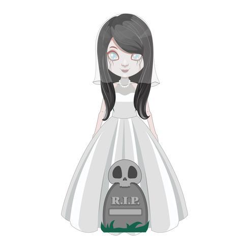Menina fantasma levitando acima de um túmulo