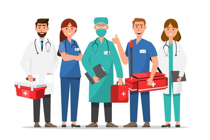 Conjunto de personagens de desenhos animados de médicos e enfermeiros