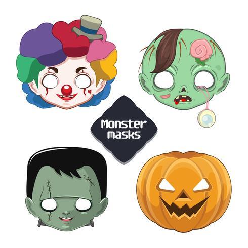 Lindas máscaras de monstruos de Halloween vector
