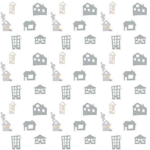 Patrón transparente de vector escandinavo con casas de doodle dibujado a mano