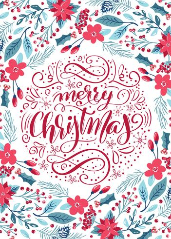 Merry Christmas calligraphic lettering floral pattern vector