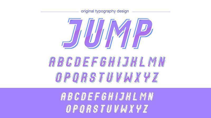 Tipografía de acción cursiva angulada púrpura vector