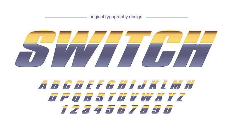 Tipografía deportiva gris amarillo metalizado vector
