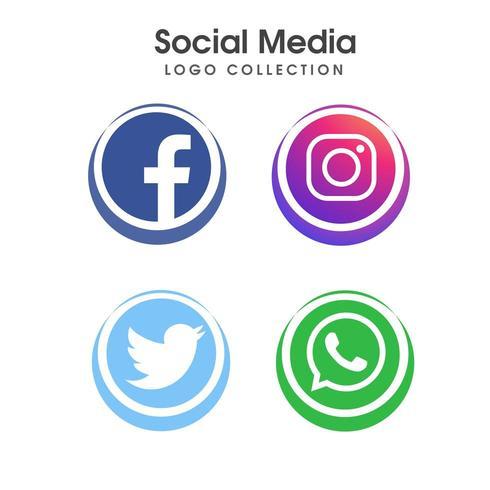 Social media logo collection set vector