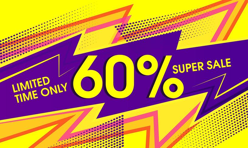 Super sale abstract vibrant yellow banner vector