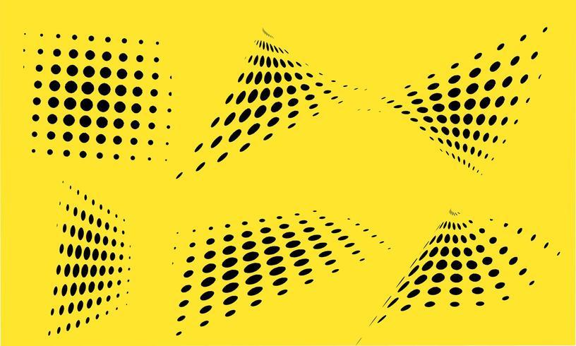 abstract halftone design set vector