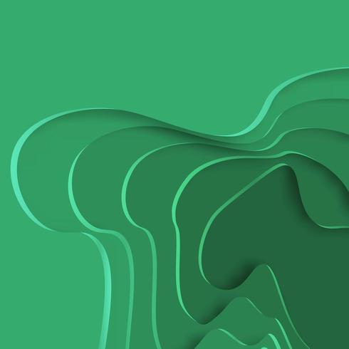 Patrón de formas de papel de corte verde abstracto vector