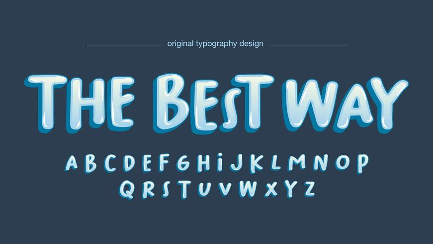 Tipografía azul burbuja manuscrita de dibujos animados vector