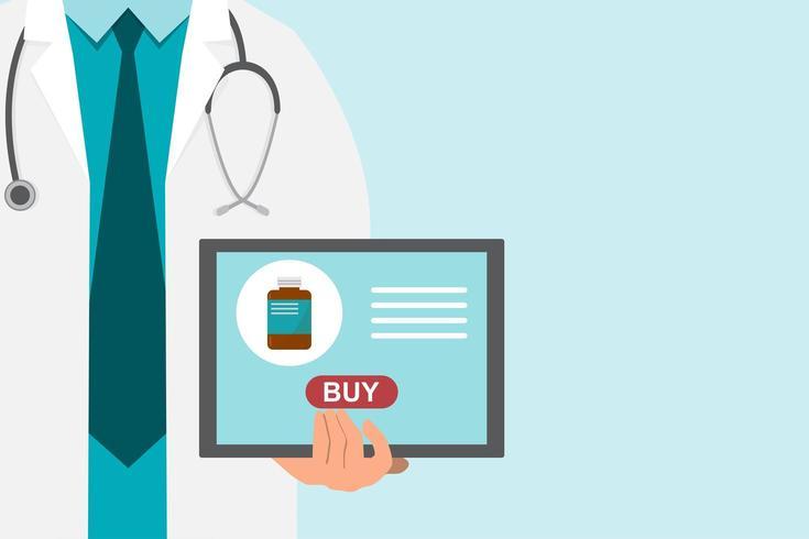 Fondo de farmacia con médico sosteniendo una tableta para comprar medicamentos vector