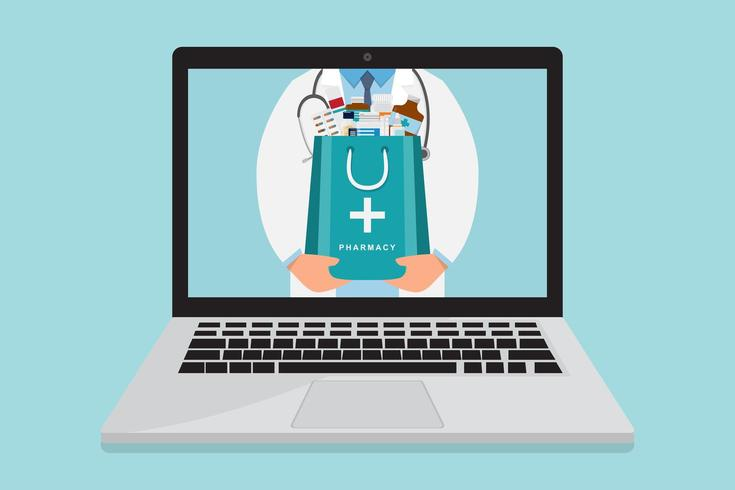 Médico de farmacia en línea con bolsa de medicina dentro del portátil vector