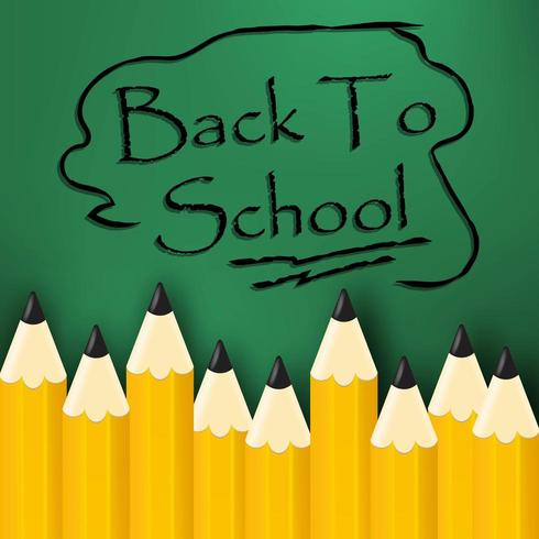 Mensaje de regreso a la escuela en letras a lápiz vector