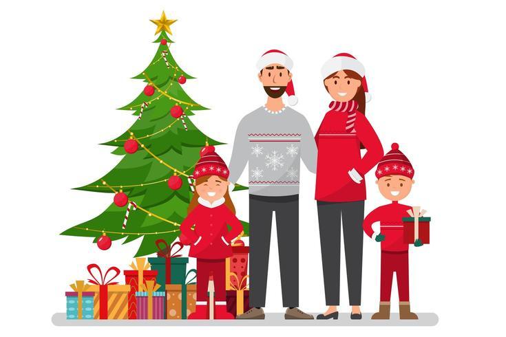 Familia celebrando la Navidad vector