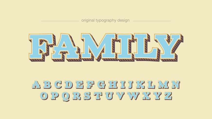 Tipografía de dibujos animados de losa azul claro vector