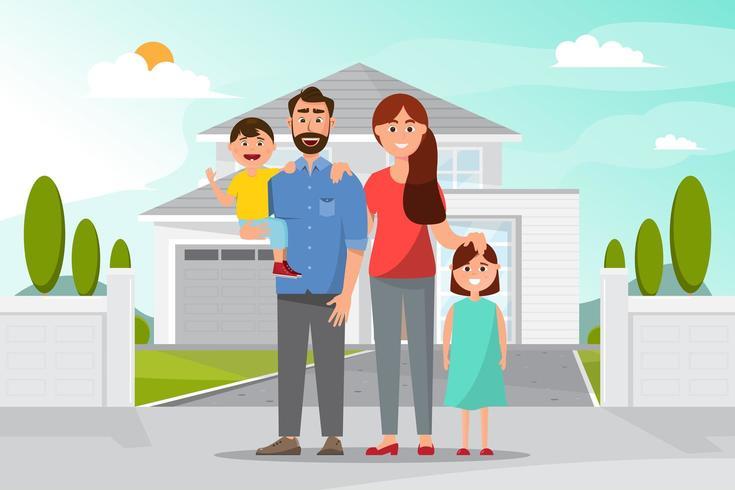 Familia feliz frente a la casa vector
