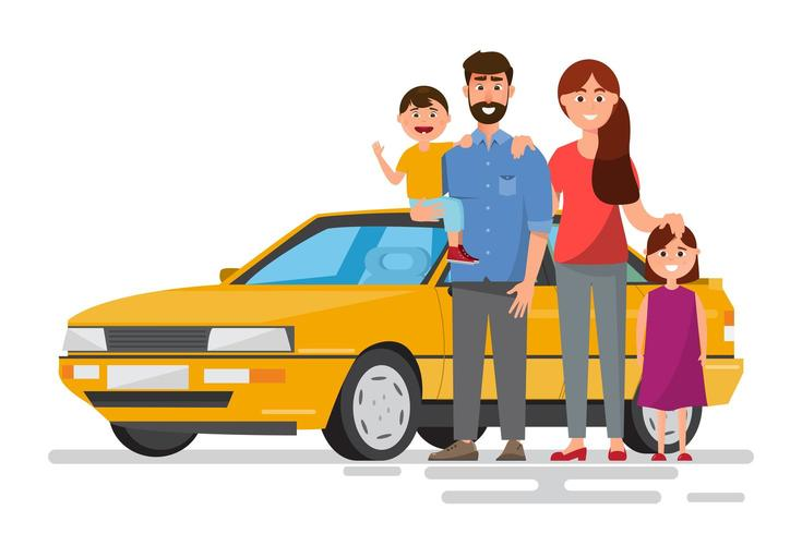 Happy family traveling by car