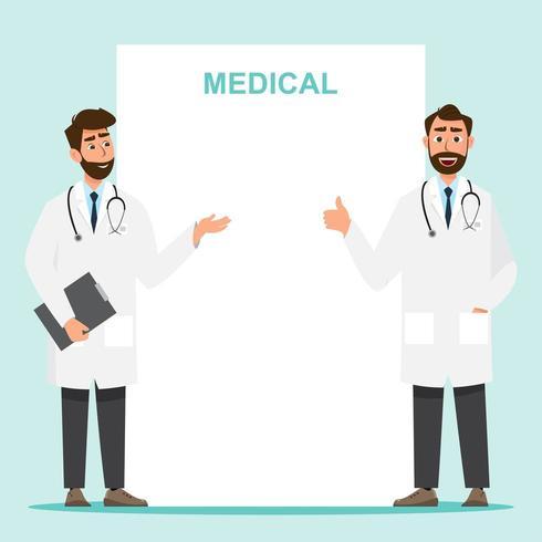 Conjunto de personaje de dibujos animados médico con espacio de copia vector