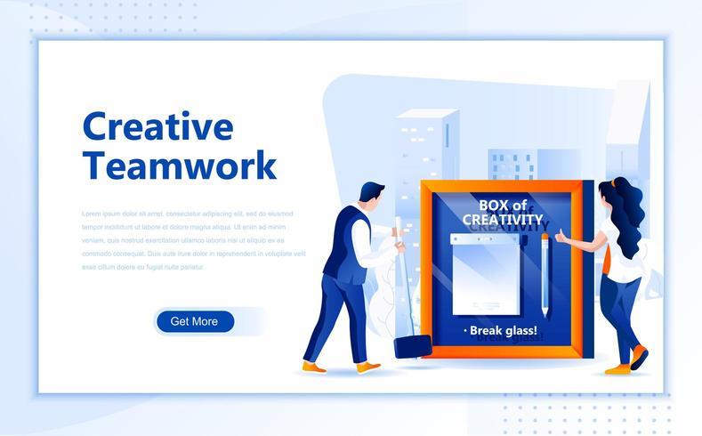 Design de página web plana de trabalho em equipe criativa