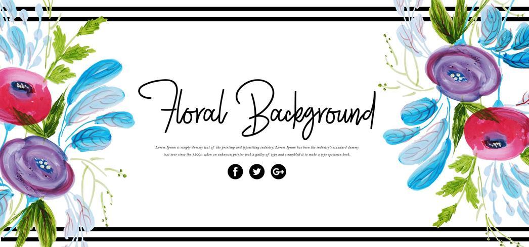 Hermoso fondo floral acuarela vector