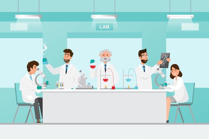 Forskare män och kvinnor forskar i ett laboratorium