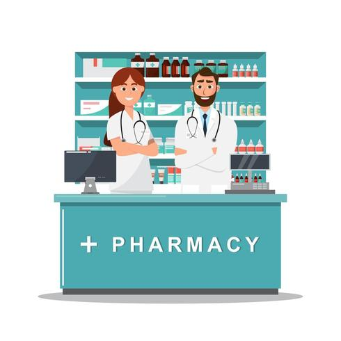 pharmacy with doctor and nurse behind the counter vector