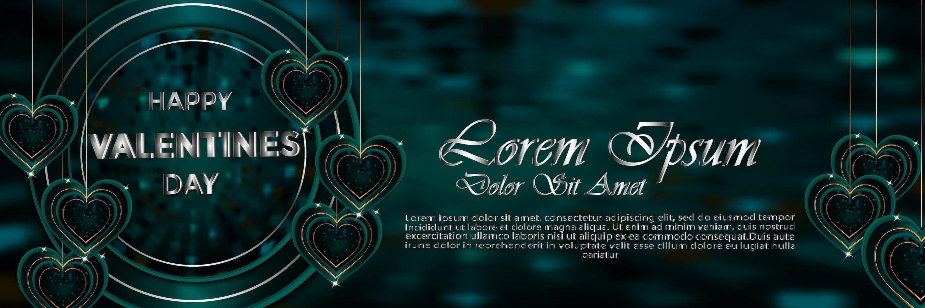 Banner feliz día de San Valentín verde con decoración de San Valentín vector
