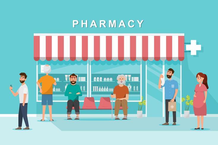 tienda de farmacia con clientes en la ciudad vector
